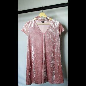 Large Timing Pink Crushed Velvet Dress